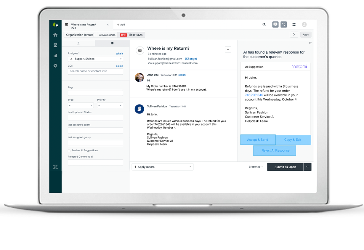 The Zendsk chatbot displays customer service tickets directly within Zendesk's chat platform