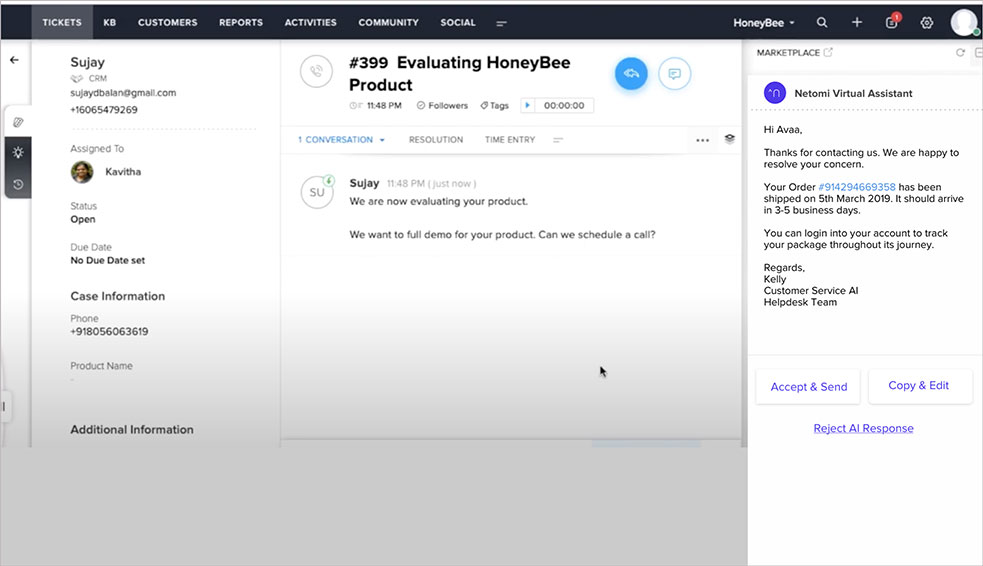 The Zoho chatbot displays customer service tickets directly within Zoho's chat platform