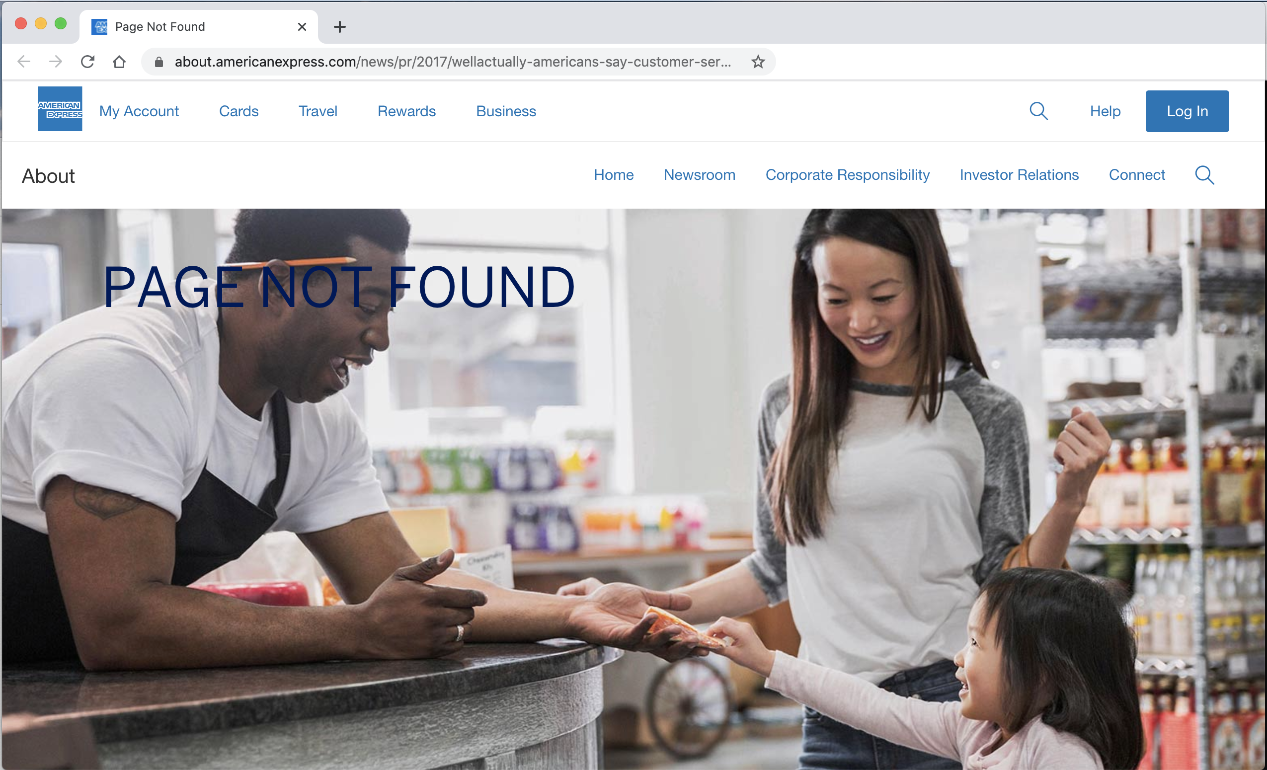 The 404 error you get when you try to read the American Express #WellActually report