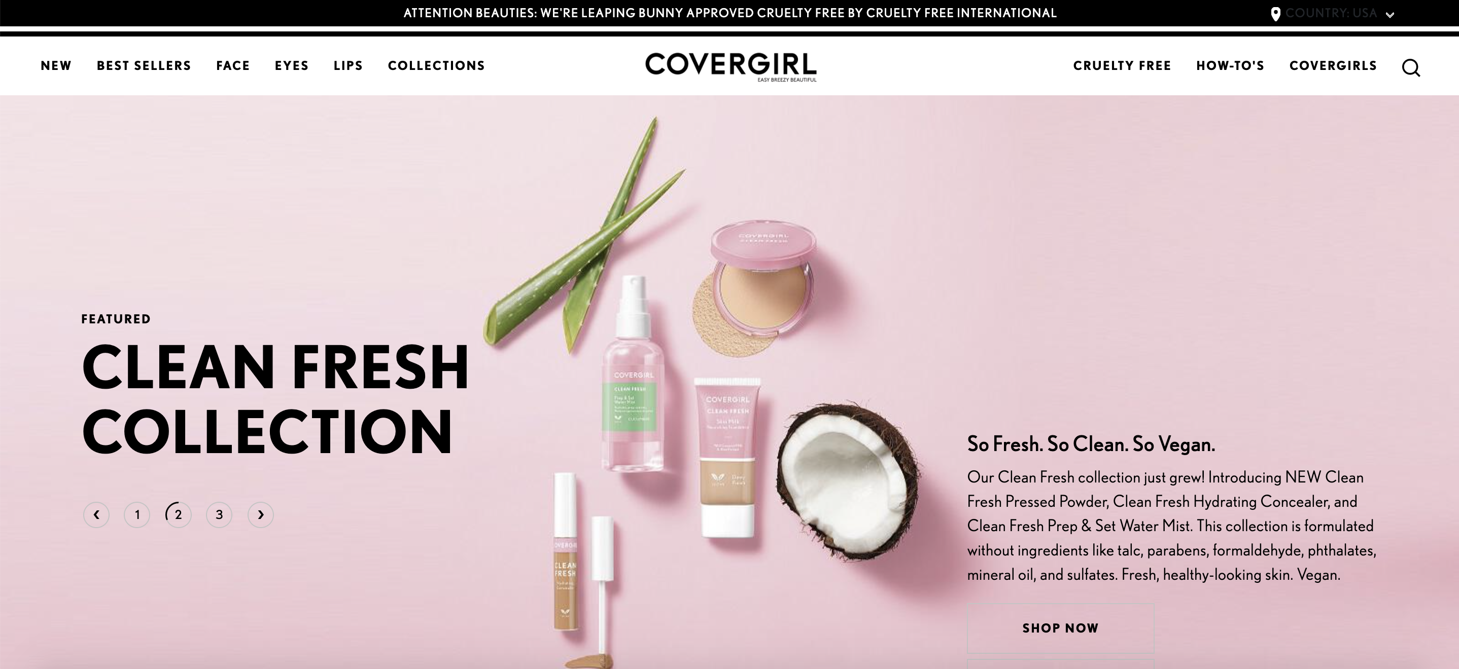 Covergirl's homepage