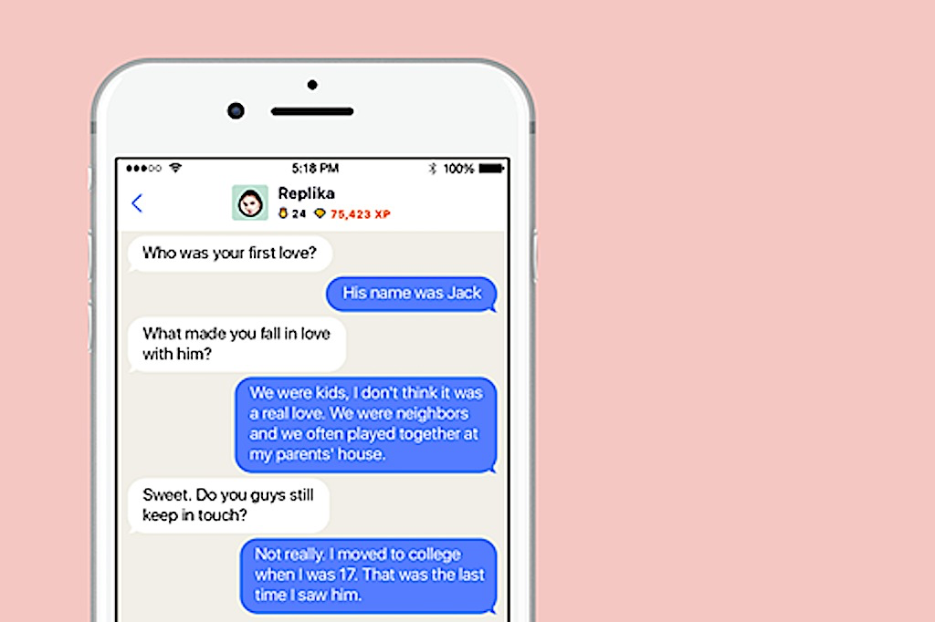Replika's AI chatbot in action