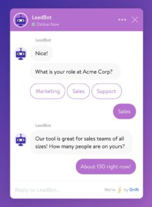 The Drift AI chatbot in action