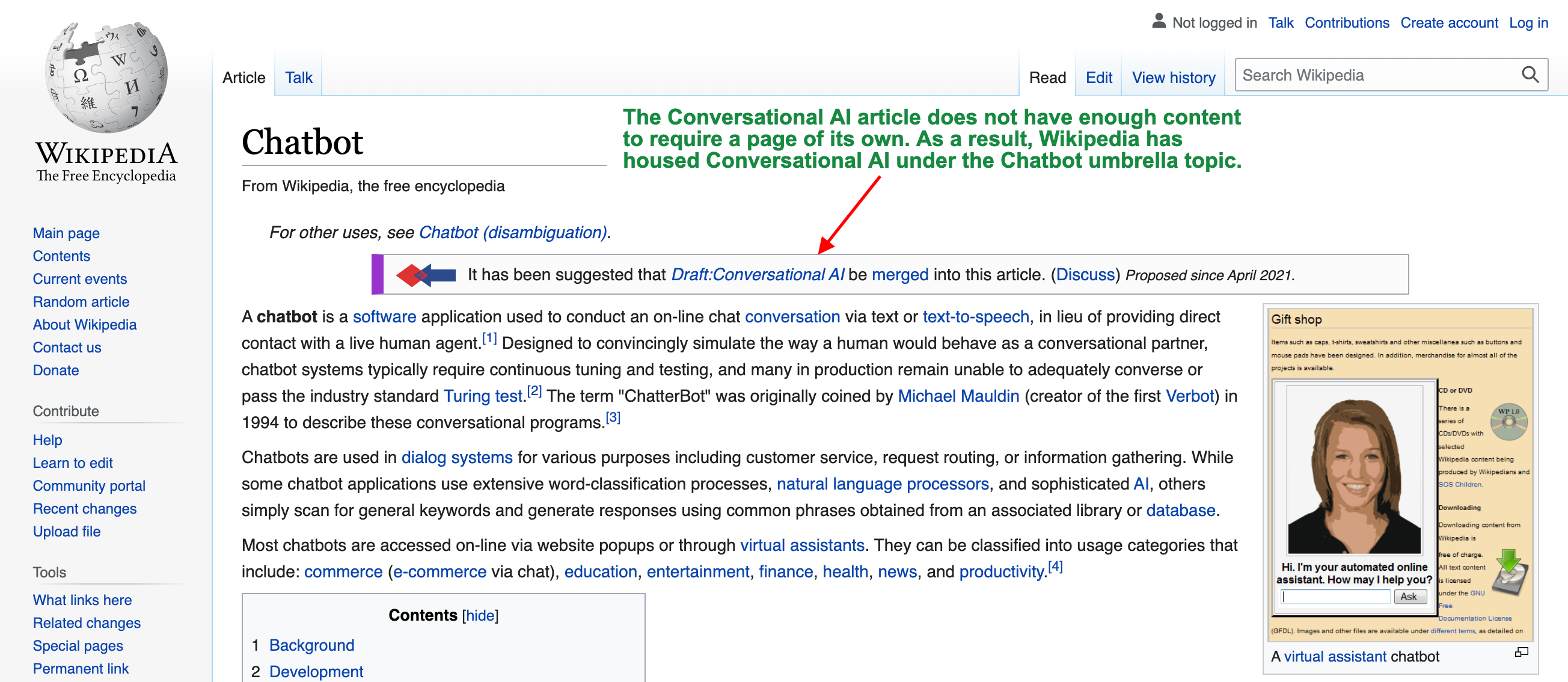 Wikipedia says that Conversational AI and Chatbots are too similar to have separate pages
